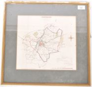 20TH CENTURY LITHOGRAPH HAND COLOURED MAP OF CANTERBURY