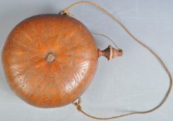 ANTIQUE 19TH CENTURY SOUTH AMERICAN CARVED GOURD POWDER FLASK