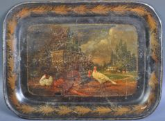 EARLY 19TH CENTURY GEORGIAN REGENCY PONTYPOOL TOLEWARE PAINTED TRAY