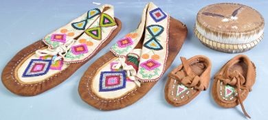 COLLECTION OF WOODLAND BEADED MOCCASINS AND OTHERS