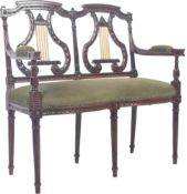 19TH CENTURY REGENCY CARVED MAHOGANY TWO SEATER LOVE SEAT