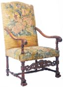 IMPRESSIVE 18TH CENTURY FRENCH WALNUT TAPESTRY ARMCHAIR