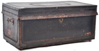 ANTIQUE GEORGIAN BRASS STUDDED LEATHER TRAVELLING CASE