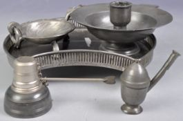 COLLECTION OF ANTIQUE PEWTER WARES INCLUDING ACORN PIPE