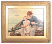 AFTER EMILE RENOUF ' THE HELPING HAND ' 19TH CENTURY PAINTING