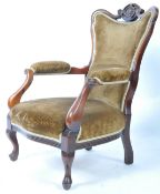 19TH CENTURY VICTORIAN WALNUT FRAMED UPHOLSTERED ARMCHAIR