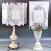 TWO ANTIQUE LEADED GLASS CELLOPHANE PANEL LAMPSHADES