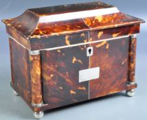 STUNNING 19TH CENTURY BLONDE TORTOISESHELL TEA CADDY