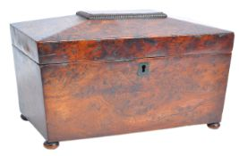 GEORGIAN REGENCY BURR WALNUT SARCOPHAGUS TEA CADDY