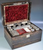 19TH CENTURY COROMANDEL WOOD VANITY TRAVEL BOX
