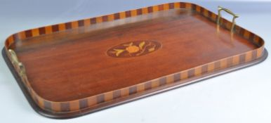 VICTORIAN MAHOGANY AND SATINWOOD INLAID SERVING TRAY