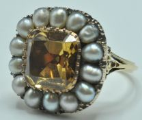 18ct Gold Cushion Cut Topaz & Pearl Cluster Ring