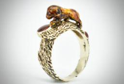 Gold & Enamel Figural Dress Ring