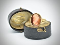 Hallmarked antique 18ct Gold Cameo Ring