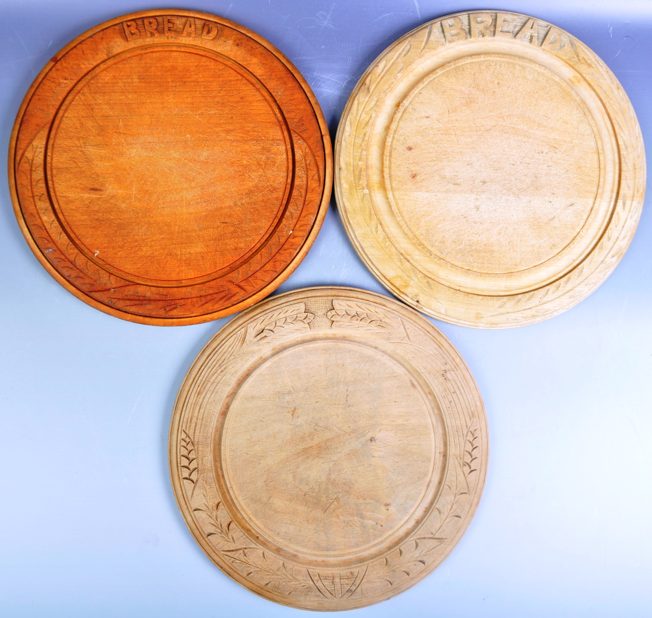 BRAMHALL WOODHALL LTD - COLLECTION OF THREE VINTAGE BREADBOARDS