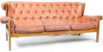 RETRO 1960'S DANISH BUTTONED LEATHER SOFA & MATCHING ARM CHAIR