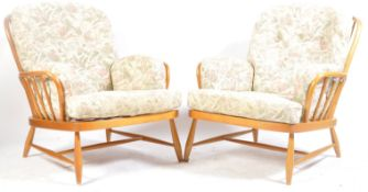 ERCOL - PAIR OF JUBILEE BEECH AND ELM ARMCHAIRS