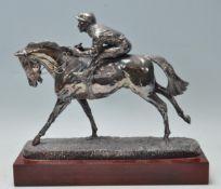 HORSE RAING SILVER HALLMARKED FIGURINE