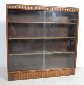 MID CENTURY CARVE OAK WOOD LIBRARY BOOKCASE CABINET