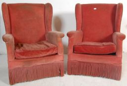 PAIR MID CENTURY PARKER KNOLL WING BACK ARMCHAIRS