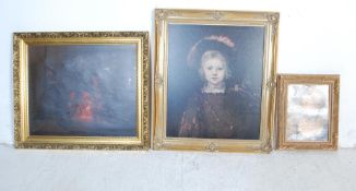 VICTORIAN OLEOGRAPH SIGNED CARRINGTON AND OTHER PRINTS