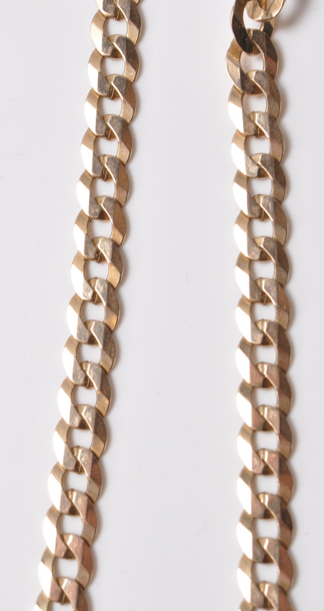 9CT GOLD FLAT LINK NECKLACE - Image 3 of 5