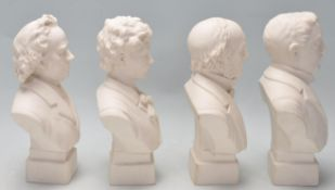 FOUR 20TH CENTURY BISQUE BUST FIGURINES