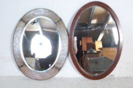 ARTS & CRAFTS OVAL COPPER WALL OVERMANTEL MIRROR