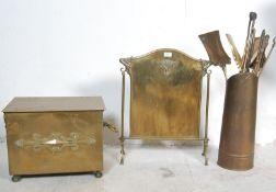 ART NOUVEAU BRASS COAL BOX, FIRE SCREEN AND TOOLS
