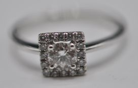 18CT GOLD WHITE GOLD DRESS RING WITH DIAMONDS OF APPROX 55 POINTS