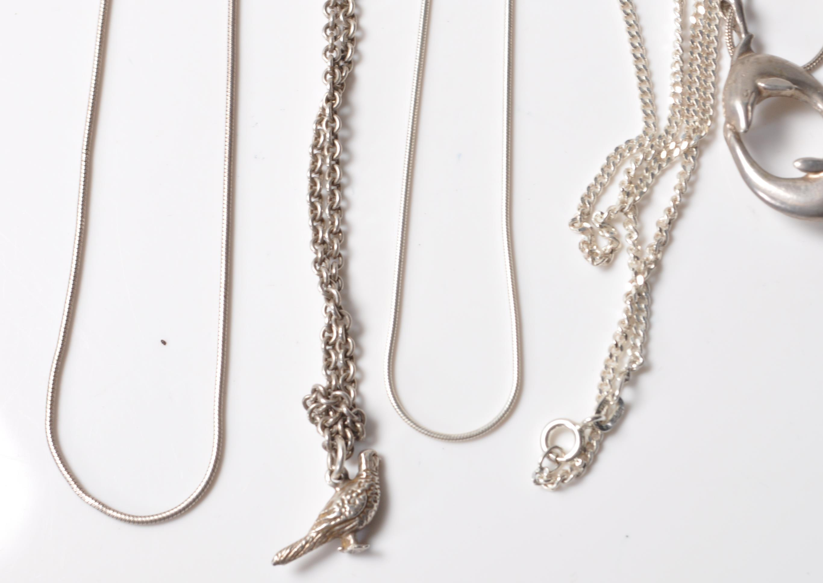 COLLECTION OF STAMPED 925 SILVER NECKLACES AND PENDANTS. - Image 2 of 12