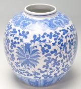 20TH CENTURY CHINESE TRANSFER PRINTED BLUE AND WHITE GINGER JAR