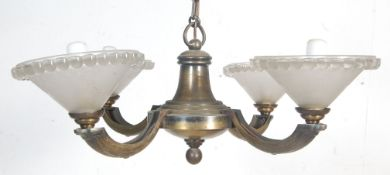 20TH CENTURY ART DECO STYLE BRASS AND GLASS CHANDELIER