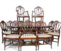 SET OF 12 DINING CHAIRS AND PEDESTAL DINNG TABLE PART HARRODS