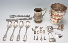 COLLECTION OF ANTIQUE AND LATER STERLING SILVER AND SILVER PLATE ITEMS