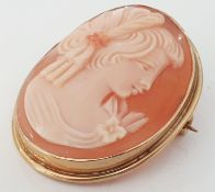 9CT GOLD LONDON HALLMARKED CAMEO BROOCH PIN