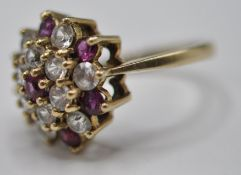 9CT GOLD PINK AND WHITE STONE CLUSTER RING