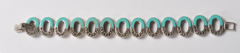 STAMPED .925 SILVER BRACELET DECORATED WITH TURQUOISE & MARCASITE