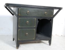 VINTAGE PAINTED SIDE TABLE CHEST WITH SHIP PAINTING