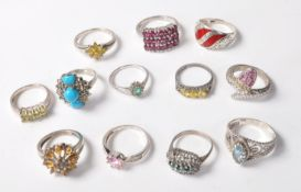 COLLECTION OF12 STAMPED .925 SILVER RING