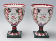 TWO VINTAGE LATE 20TH CENTURY WEMYSS CENTENTARY GOBLET
