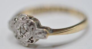 9CT GOLD, PLATINUM AND DIAMOND RING