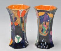 PAIR OF 1930S EARLY 20TH CENTURY ART DECO MOLLIE HANCOCK CORONAWARE VASES