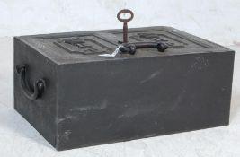 ANTIQUE CAST METAL STRONG BOX SAFE