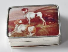STAMPED 925 SILVER PILL BOX WITH ENAMEL PANEL ATOP DEPICTING TWO DOGS.