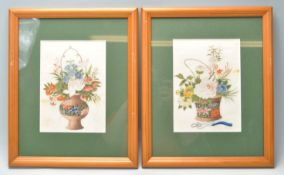 TWO EARLY 20TH CENTURY CHINESE SILK STILL LIFE PAINTINGS OF FLOWERS