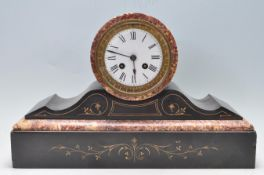 VICTORIAN 19TH CENTURY SLATE AND MARBLE MANTEL CLOCK