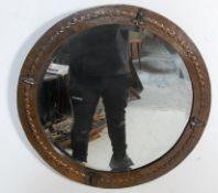 VINTAGE 20TH CENTURY ART NOUVEAU STYLE COPPER FRAMED MIRROR