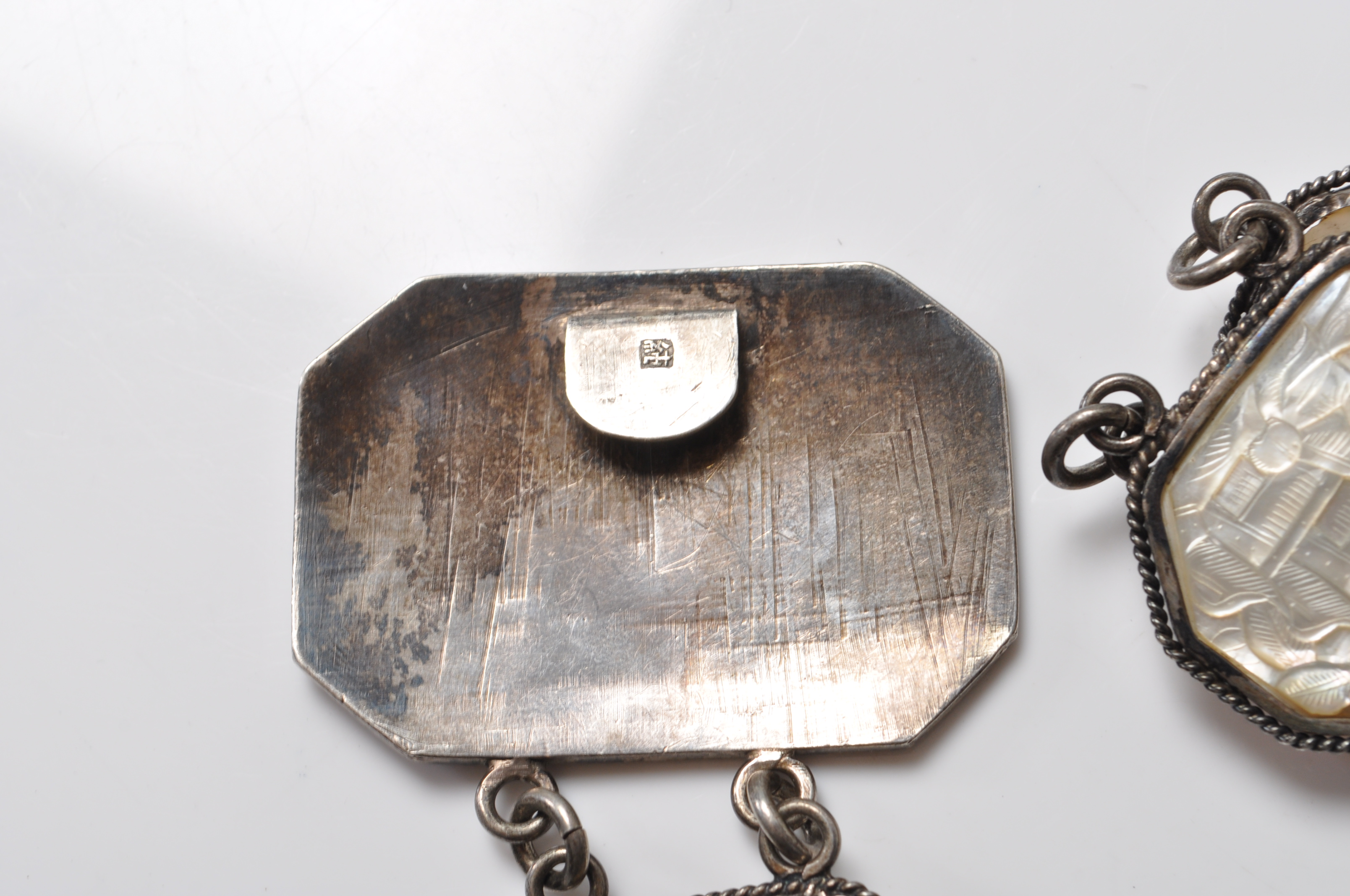 ANTIQUE CHINESE SILVER AND MOTHER OF PEARL BELT - Image 7 of 7