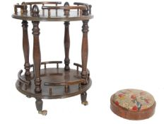 ANTIQUE STYLE DRINKS TROLLEY TOGETHER WITH VICTORIAN FOOT STOOL